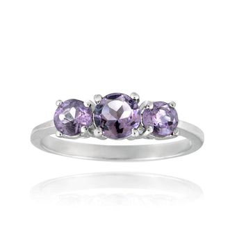 925 Silver .9ct Amethyst Three Stone Ring