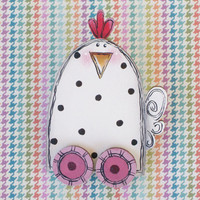 Hand Painted Chicken Lapel Pin, Brooch