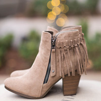 College Girl Fringe Zipper Booties