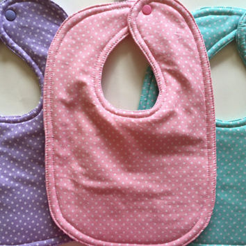 Baby bib set girl bib set new baby girl toddler bib drool bib cotton baby bib dribble layette boutique baby polka dot baby nursery feeding