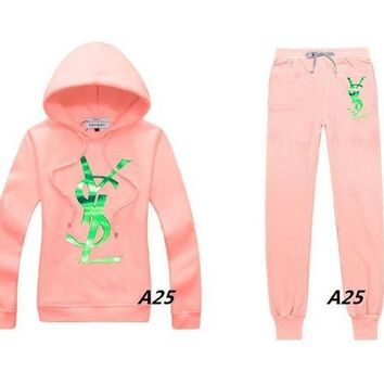 ONETOW YSL Casual Print Hoodie Top Sweater Pants Trousers Set Two-piece Sportswear     woman