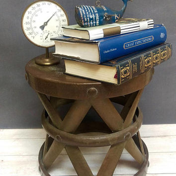 Brass Side Table/ Brass Drum Side Table/ Brass Plant Stand/Mid-century Brass End Table/ Brass Foot Stool/ Vintage Brass Stool/ Bohemian