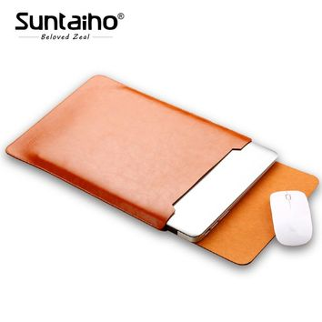 "PU Leather For MacBook Air Pro Retina 11 12 13 15"" inch Laptop Bag Case Sleeve Notebook Carry Bag For Macbook Case women Bag"