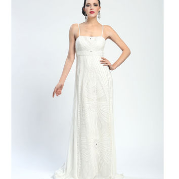 Sue Wong Summer 2014 -  Ivory Art Deco Evening Gown