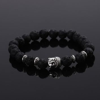 2015 Fashion jewelry Natural stone buddha beads bracelet men elastic rope chain