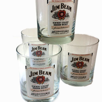 Set of 3 Luminarc Jim Beam Whiskey Glasses
