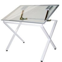 Martin X-Factor Drawing and Hobby Table with Large 30 by 42-Inch Glass Top