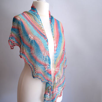 Rainbow lace shawl, soft summer scarf, womens scarf in silky poliamide, shouldercover, crescent shape