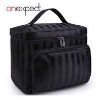 onexpect Woman Cosmetic Bags Striped Pattern Folding Organizer Makeup Bag Travel Toiletry BagStorage Beauty Bag Large Capacity