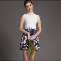 White Lace Sleeveless And Navy Floral Print Pleat Dress