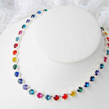 Swarovski crystal rhinestone necklace / 6mm / rainbow / Statement necklace / Bridal / Tennis necklace / pride