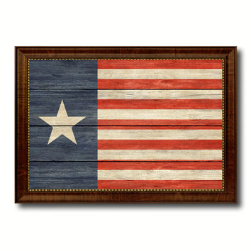 Texas Navy Texan Revolution 1838-1846 Naval Jack Military Flag Texture Canvas Print with Brown Picture Frame Home Decor Wall Art Gifts