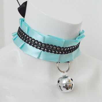 Kitten play bdsm collar - Blue glam - blue and black - ddlg princess kawaii cute neko girl lolita petplay choker with leash ring and bell