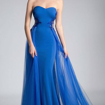 Royal Blue Appliqued Prom Gown with Tulle Overlay
