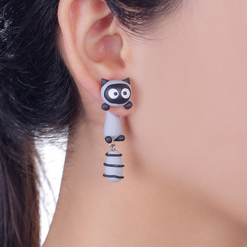 2016 New Design Fashion Cartoon Smile Raccoon Stud Earring 100% Handmade Polymer Clay Cute 3d Animal Earrings For Women