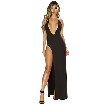 Sexy Havana Deep Plunge High Slit Black Maxi Dress