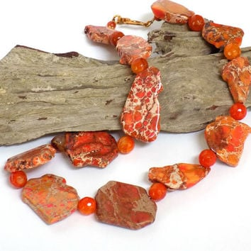 Orange Necklace, Gemstone Necklace, Sodalite Necklace, Unique Necklace, Handmade Necklace, Handcrafted Jewelry, Carnelian Jewelry, Orange