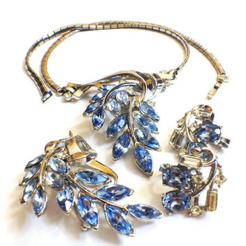 Vintage Trifari Rhinestone Flower Demi Set, Necklace, Brooch Earrings, Blue, Silvertone,  Bridal, 1950s