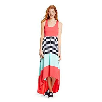 Mossimo Supply Co Womens Racerback High Low Blazing Coral Striped Maxi Dress