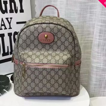 GUCCI Trending Women Men Classic Full GG Letter Print Daypack School Bag Travel Bag Backpack Pink I-AGG-CZDL