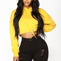 Crop It Like Its Hot Hoodie - Mustard