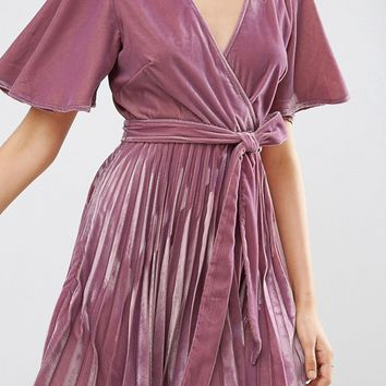ASOS Velvet Wrap Front Pleated Skater Dress at asos.com