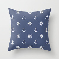 Nautical - Blue Throw Pillow by Sharp B.A.