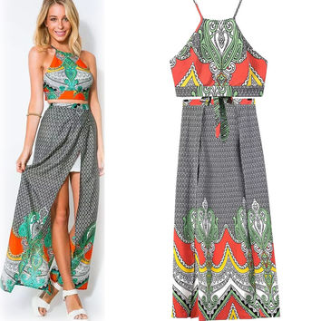 Boho Spaghetti Strap Tops Skirt Set [4919461060]