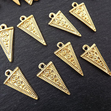 Long Arrow Spear Head Spike Charms Detailed Tribal Ethnic 22k Matte Gold Plated Plated Jewelry Making Supplies Findings Components - 8pc