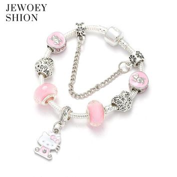 JEWOEY SHION Fashion high-end custom pink cute Hello Kitty pendant safety chain design for DIY Pandora charm bracelet for women