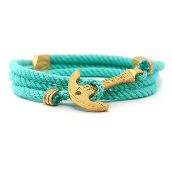 Anchor Bracelet. Mint Bracelet. Light Blue Bracelet. Rope Bracelet. MARITIME. Wrap Bracelet. Sea Bracelet. Wooden Box. Adjustable Size