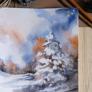 Original Watercolor Painting - Winter Landscape - Watercolour Art - Landscape Painting - Abstract Art -  Modern Art - Blue - Orange