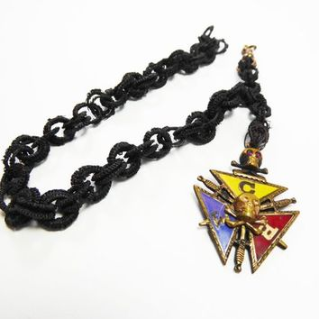 Knights of Pythias Fraternal Watch Chain & Rolled Gold Fob FCB for Friendship Charity Benevolence, Hair Chain Links Antique 1860s -1880s