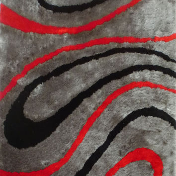Design 8002 Gray Red 100% Polyester Modern Hand Tufted Shag Area Rug