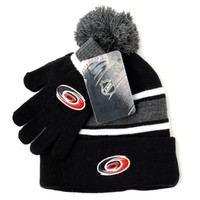 NHL Carolina Hurricanes Men's Hat & Gloves Set