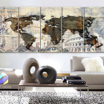 "XLARGE 30""x 70"" 5 Panels Art Canvas Print Original Big Wonders of the world Texture Map travel Wall decor Home interior (framed 1.5"" depth)"