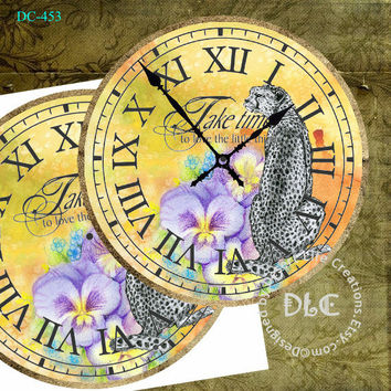 "African Cheetah with Purple Pansies Love Things Art DIY - Digital Sheet dc453 - Large Clock Face 12"" Printable Image - Crafts - Jpg"