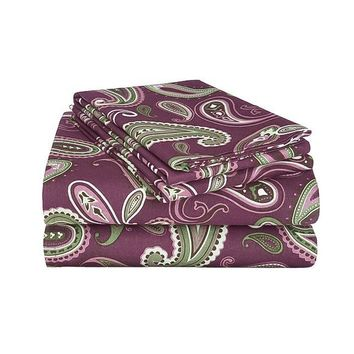 100% Cotton Soft Flannel Paisley Sheet Set