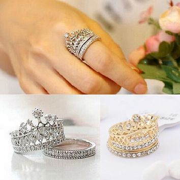 Cool Women's Fashion Queen Crown Pattern Ring Set Rhinestone Two-piece Rings JewelryAT_93_12