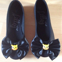 Pikachu Ballet Flats - Pokemon SIZE 3 4 5 6 7 8 9 - Custom, Ballerina Shoes, Pumps,Cute Kitsch Kawaii Fairy Kei Decora Gamer Cute