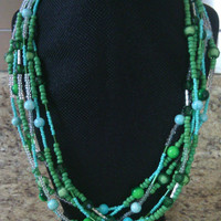 Multi-Strand Beaded Necklace - A Day in Forest Green - Multistrand 6 Strand Necklace