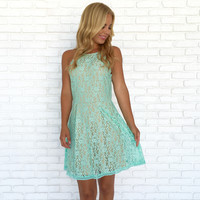 Forever Yours Lace Dress In Mint