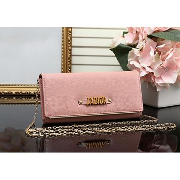 DIOR Popular Ladies Leather Metal Chain Shoulder Bag Satchel Crossbody Pink I