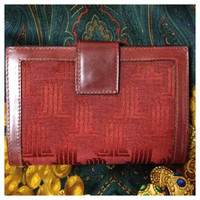 Vintage LANVIN wine brown logo jacquard and leather wallet with kiss lock coin room. For all generations. unisex.