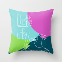 Balloon Love - Let's Fly Throw Pillow by Beth Thompson