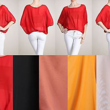 Sexy Sheer Batwing Dolman 3/4 Sleeve Cropped Hi-Low Asymm Hem Top Blouse Shirt