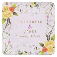Rustic Floral Buds | Square Coasters