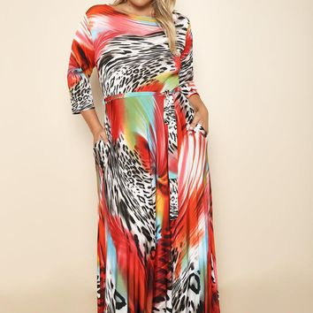 Tropical Vacation Red Plus Size Maxi Dress