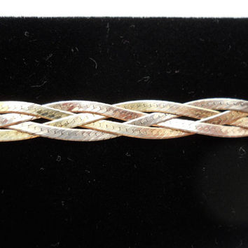 Sterling Silver 925 4 Strand Herringbone Weave Bracelet 7 1/8 in 6mm Italy 925