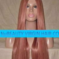 "Custom Colored GLUELESS Human Hair Wig Full Lace 22"" Long Silky Straight Light Copper Red"